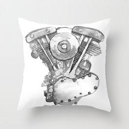 Vintage Harley Shovelhead Motorcycle Engine Throw Pillow