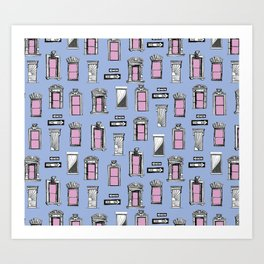NYC Window Pattern Pink and Blue City Illustration Art Print