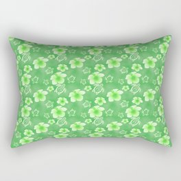 Green Hibiscus Honu Hawaiian Pattern Rectangular Pillow