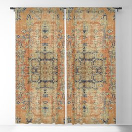 Vintage Woven Coral and Blue Kilim Blackout Curtain