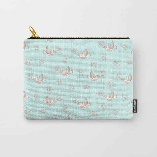 Christmas birds - Bird pattern on turquoise backround Carry-All Pouch