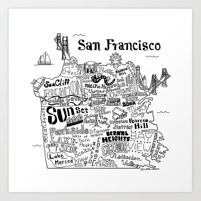 San Francisco Map Illustration Art Print By Clairelordon Society6