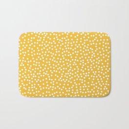Mustard Yellow and White Polka Dot Pattern Bath Mat