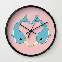 Narwhal heart Wall Clock