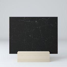 Black distressed marble texture Mini Art Print