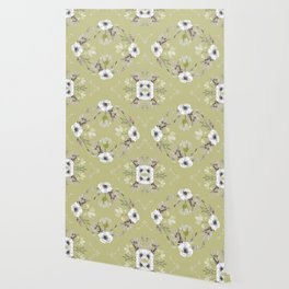 Floral Square Yellow Wallpaper