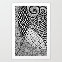 zentangle Art Prints featuring Zentangle by kinseymichelle