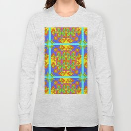 BOHEMIAN STYLE QUILTED TURQUOISE BUTTERFLIES & FLOWERS Long Sleeve T-shirt