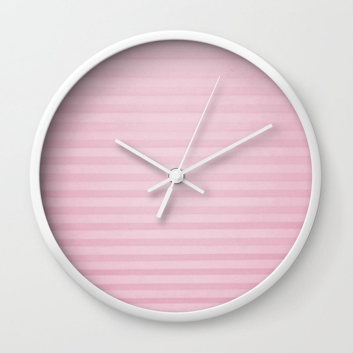 Vintage chic pink geometrical stripes pattern Wall Clock