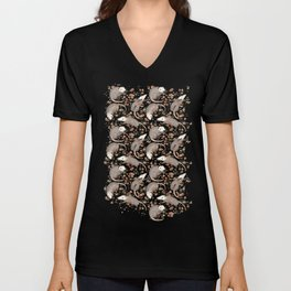 Opossum and Roses Unisex V-Neck