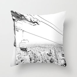 Chairlift // Mountain Ascent Black and White City Photograph Throw Pillow