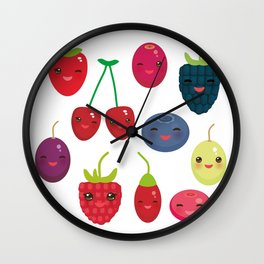 Kawaii Cherry Strawberry Raspberry Blackberry Blueberry Cranberry Cowberry Goji Grape Wall Clock