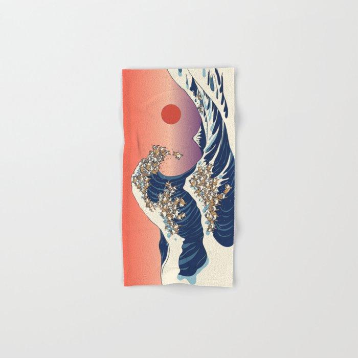 The Great Wave of Shiba Inu Hand & Bath Towel