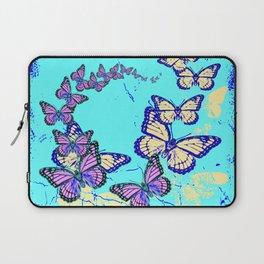 Blue Butterflies Blue & Purple Pattern Abstract Laptop Sleeve