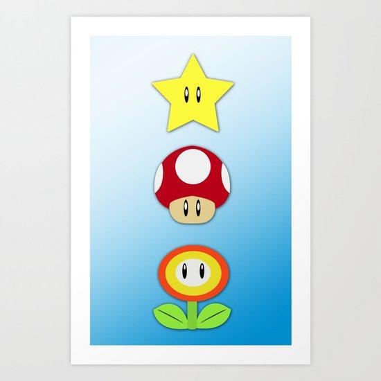 Super Mario Bros Star, Mushroom and Flower Art Print