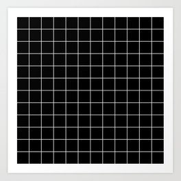 Grid Simple Line Black Minimalist Art Print