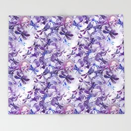 Dragonfly Lullaby in Pantone Ultraviolet Purple Throw Blanket