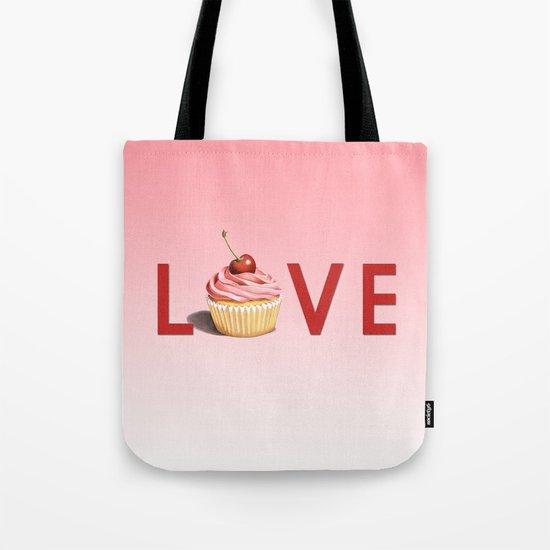 Perfect Pink Cupcake LOVE Tote Bag