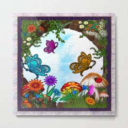 Spring Gardens Whimsical Folk Art Metal Print