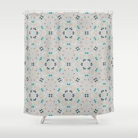 gold dots Shower Curtains featuring dots by Designed by Ruth