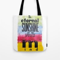 eternal sunshine Tote Bags featuring The eternal sunshine of the spotless mind by Federica Tumminello