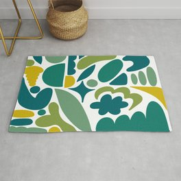 Modern Organic Abstract / Green-Yellow to Green-Blue Hues on Light Background Rug