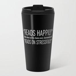 Reads Happily - Black Travel Mug