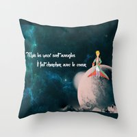 le petit prince Throw Pillows featuring Le Petit Prince by SmallWheel