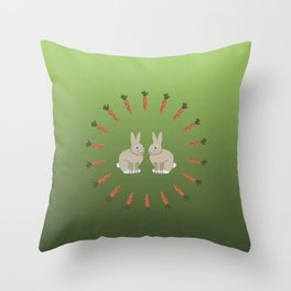 Carrots and Rabbits Throw Pillow