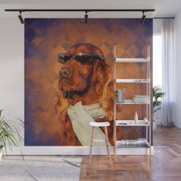 Irish Setter Dog - Sunglasses and Scarf Wall Mural
