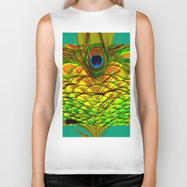 TEAL PEACOCK FEATHERS GOLDEN  DESIGN Biker Tank