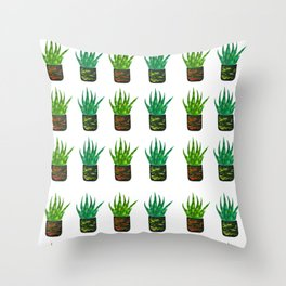 Snake plant pattern Throw Pillow