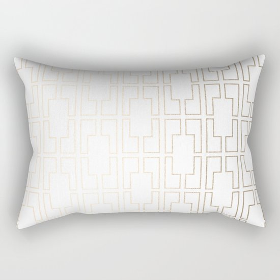 Simply Mid-Century in White Gold Sands Rectangular Pillow