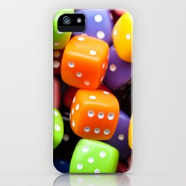 Assorted multicolor dices, close-up shot, abstract gambling background iPhone Case