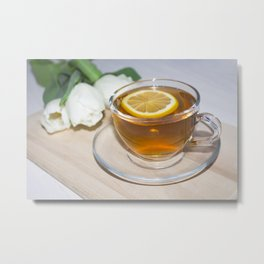 A cup of tea in a circle of friends, a warm atmosphere Metal Print
