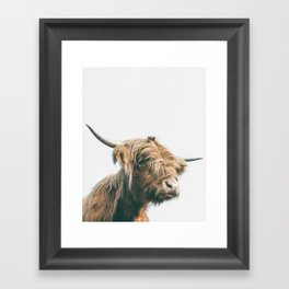 Majestic Highland cow portrait Framed Art Print