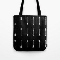 White Arrows on Black Tote Bag