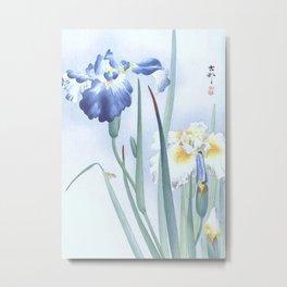 Bee And Blue Iris Flowers - Vintage Japanese Woodblock Print Art By Ohara koson Metal Print