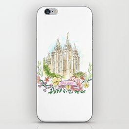 Salt Lake City LDS watercolor Temple with flower wreath iPhone Skin