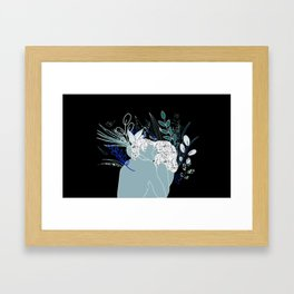 Couple kissing at night in nature Framed Art Print