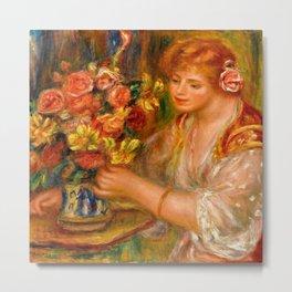 """Auguste Renoir """"Femme Arrangeant Des Fleurs or La Femme Au Bouquet - Andrée"""" Metal Print"""