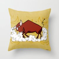 taurus Throw Pillows featuring Taurus by Giuseppe Lentini