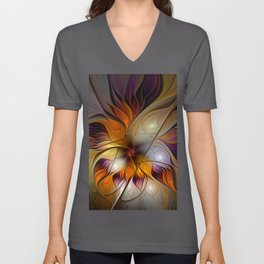Autumn Flower, Colorful Abstract Fractal Art Unisex V-Neck