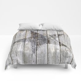 Grunge Star on old weathered grey wood Comforters