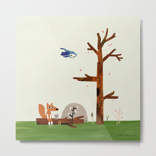 Owl flies by Fox and Mouse on a log in the woods Metal Print
