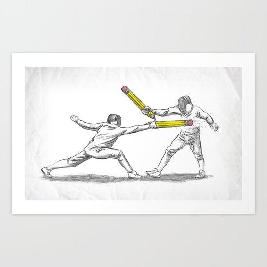 Parry Thrust Pencil Erase Art Print