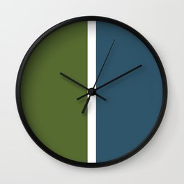 Dark teal, olive and white color-block Wall Clock