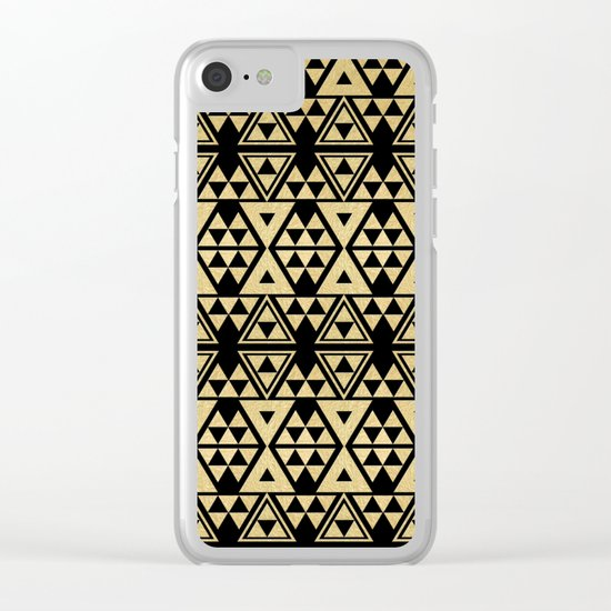 Black and Gold Geometric Pattern 2 Clear iPhone Case