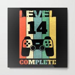 Level 14 Years Boy Man 14th Birthday Metal Print