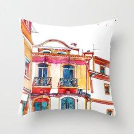 Coloring book Southern Europe Cities: Sesimbra Throw Pillow